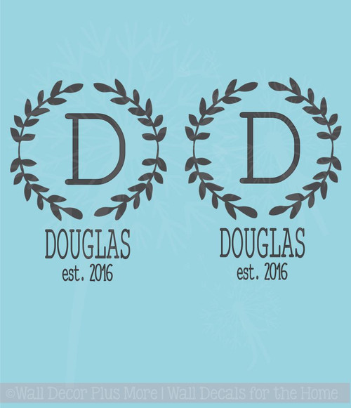 Monogram Vinyl Decals Laurel Wreath with Name, Date for Cornhole Beanbag Boards, Set of 2