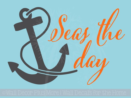 Seas the Day with Anchor Nautical Beach Summer Wall Decals Sticker PS062-A