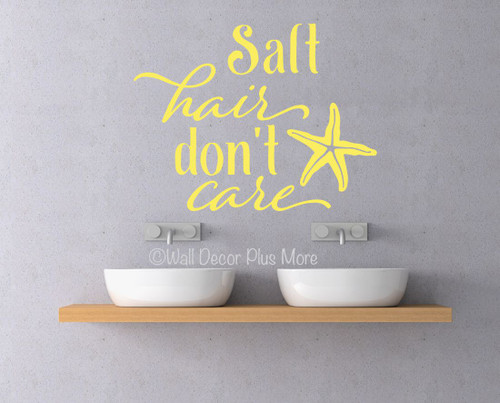 Salt Hair Don't Care with Star Fish Beach Camper Wall Decals Sticker-Light Yellow