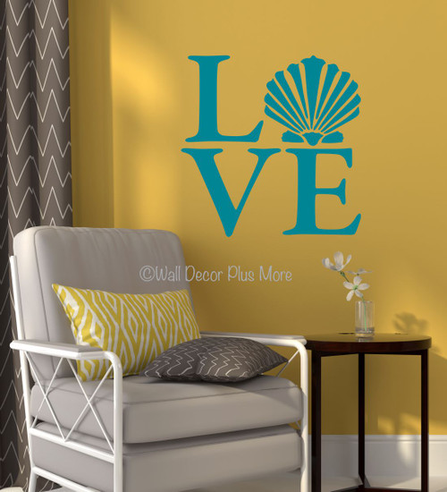 Love with Clam Shell Wall Decals Sticker Beach Wall Words Teal