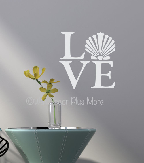 Love with Clam Shell Wall Decals Sticker Beach Wall Words White