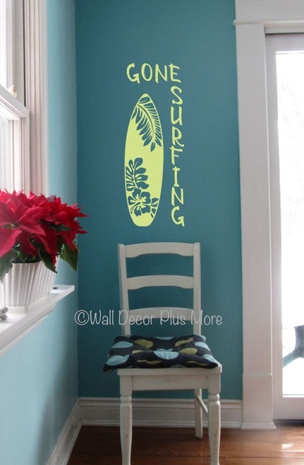 Gone Surfing with Surf Board Wall Decal Sticker Lake House Wall Decor Key Lime