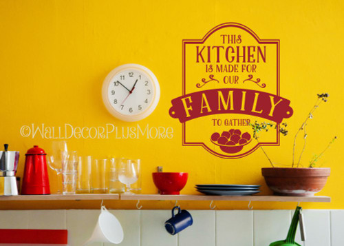 Popular Kitchen Quotes Vinyl Wall Stickers Decals Family to Gather-Red