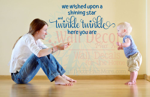 We Wished Upon a Shining Star Wall Decal Baby Nursery Sticker Quotes-Traffic Blue