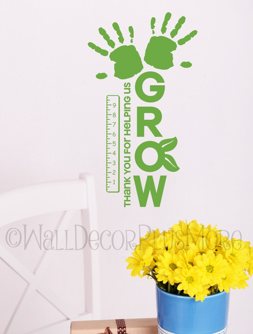 Thank You for Helping Us Grow with Ruler & Hand print School Decals for Teacher-Lime