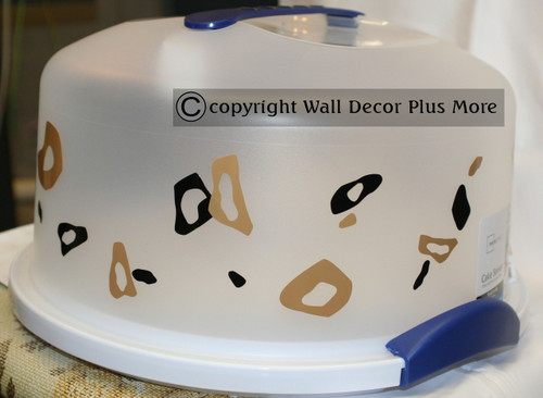 Tiny Leopard Print Rings and Dots, Glossy Vinyl Stickers Decals Tan & ChocBrown on cake carrier
