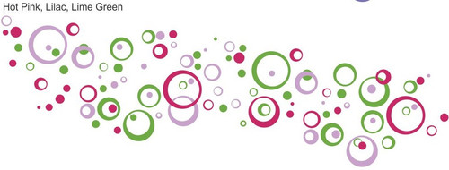 3-Color Wall Stickers Shapes Circles Rings and Dots for Home Decor Hot Pink Lilac Lime Green