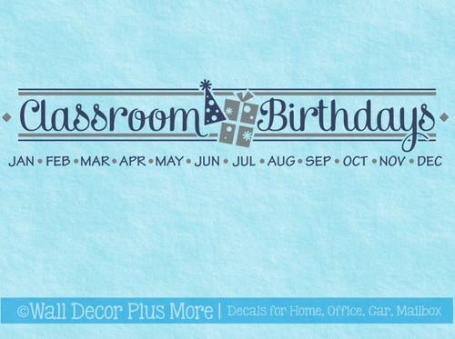 Classroom Birthdays Vinyl Sticker Decals for School Birthday Board DIY Project