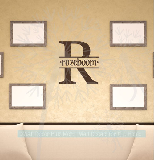 Monogram Custom Letter Wall Decal Personalized with Name Vinyl Stickers Choc Brown