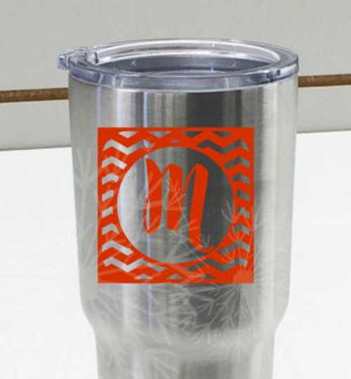 Monogram Chevron Letter Vinyl Sticker Decals for RTIC or Yeti Tumblers, Set of 2