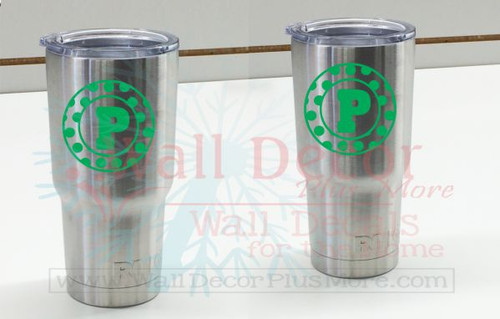 Polka Dot Frame With Monogram Custom Letter Decals For Rtic Or Yeti Tumblers 3x3 Inch Set Of 2