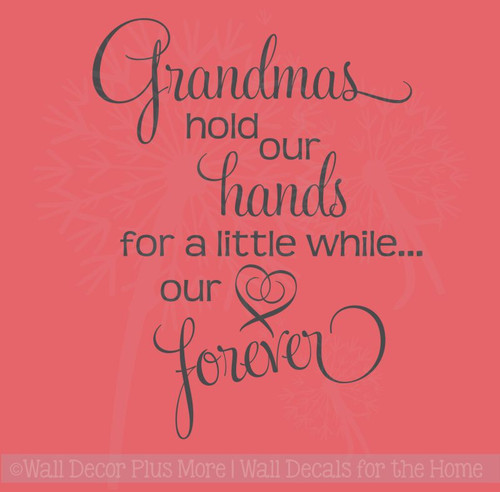 Grandma Holds Hands Hearts Forever Family Wall Letters Vinyl Decal Stickers