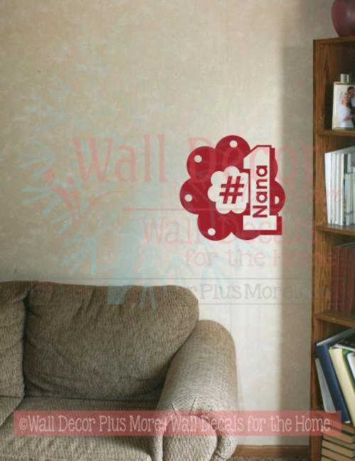 No. 1 Nana Wall Decal Sticker Flower Wall Art Words for Grandma
