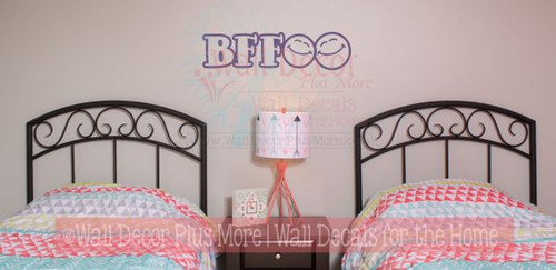 BFF Smiley Faces Wall Decals Stickers for Best Friends Wall Art Letters-Plum