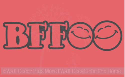 BFF Smiley Faces Wall Decals Stickers for Best Friends Wall Art Letters