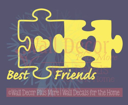 Best Friends Puzzle Pieces Vinyl Wall Art Decals Sticker-Yellow