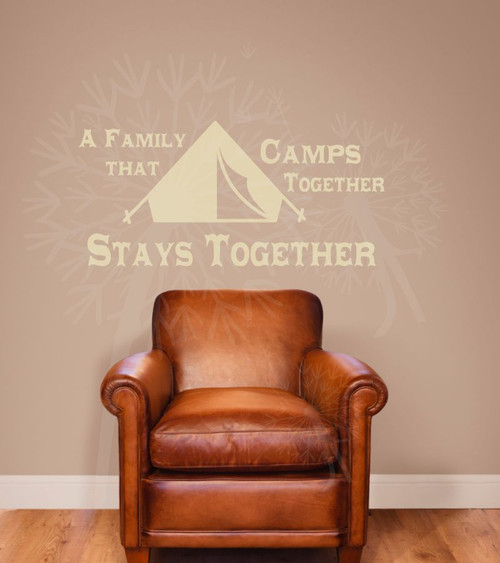 A Family that Camps Together Wall Letters for the RV Camper Vinyl Wall Decals-Beige