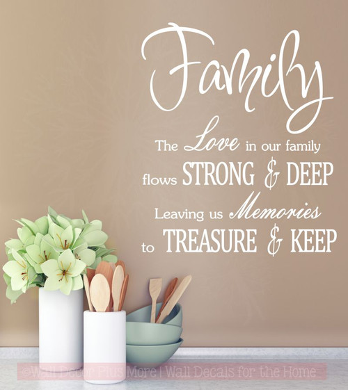 Family Love Memories to Treasure Keep Wall Decals Vinyl Sticker for Home Decor-White