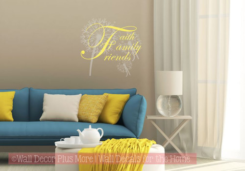 Faith, Family, Friends Cursive Wall Letters Vinyl Sticker Decals Lt Yellow