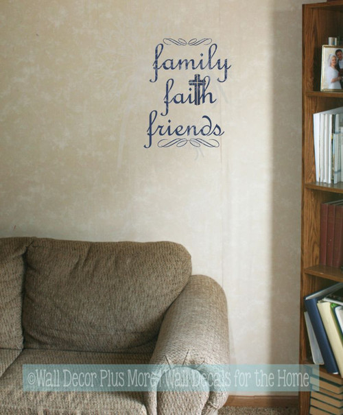 Family Faith Friends Religious Wall Words Wall Art Decal Stickers-Deep Blue