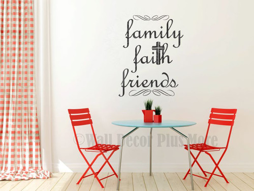 Family Faith Friends Christian Wall Words Wall Art Decal Stickers-Black