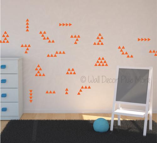 Tiny Triangles Wall Vinyl Sticker Shapes Peel-n-Stick Fun Easy Wall Decor Tribal Wall Pattern - Orange