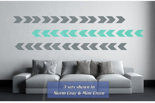 Wall Vinyl Sticker Arrows Simple Peel-n-Stick Arrangement Modern Wall Decor-Storm Gray, Mint Green