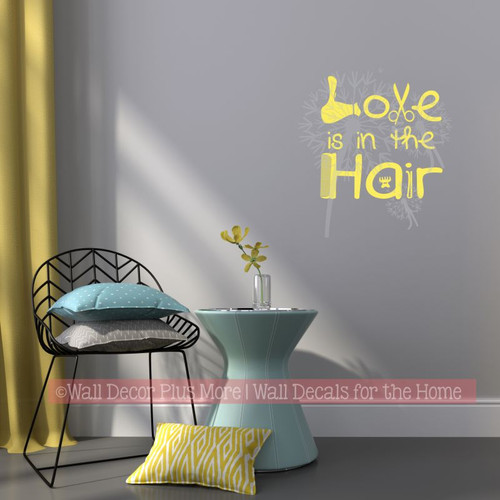 Love In The Hair Wall Quotes for Salon Hairdresser Vinyl Decal Stickers-Light Yellow