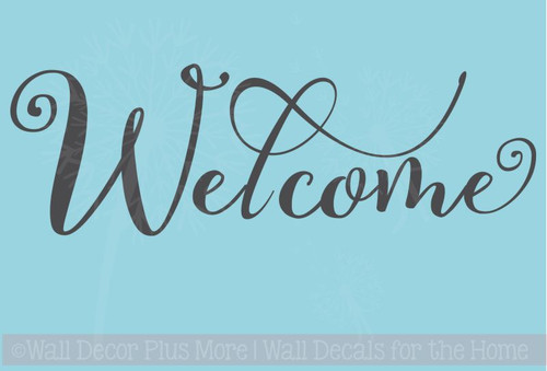 Welcome Cursive Wall Letters Words for Front Door Entry Vinyl Stickers for Decor
