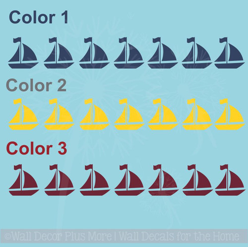 Sailboats Wall Decals Boys Nautical Wall Art Stickers, 21pc, 3 Colors, 3-Inch