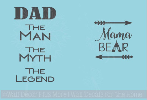 RTIC or Yeti Tumbler Mug Decals Mama Bear & Dad Legend Vinyl Stickers