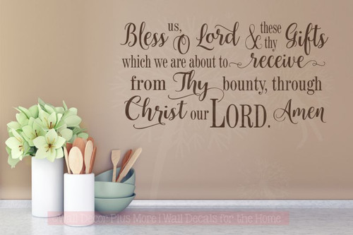 Bless Us O Lord.. Vinyl Sticker Wall Decal Religious Prayer Wall Words-Chocolate Brown