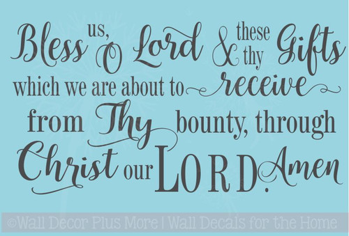 Bless Us O Lord.. Vinyl Sticker Wall Decal Religious Prayer Wall Words
