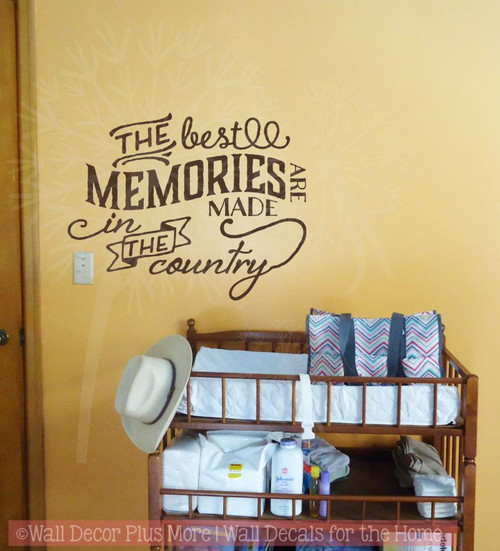 Best Memories Made in the Country Wall Quotes Vinyl Decals Sticker-Chocolate Brown