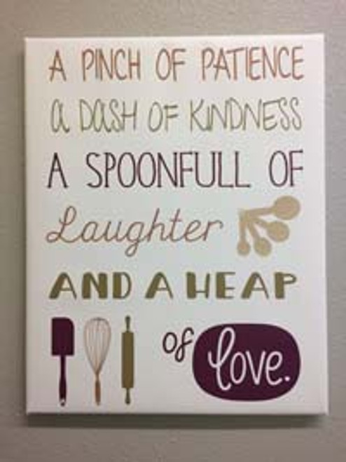Pinch Patience Heap of Love Kitchen Canvas Print Wall Art Option 1