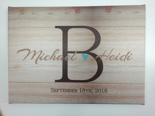 Wood grain Canvas Print Monogram Letter with Couple's Name Personalized Wedding Art