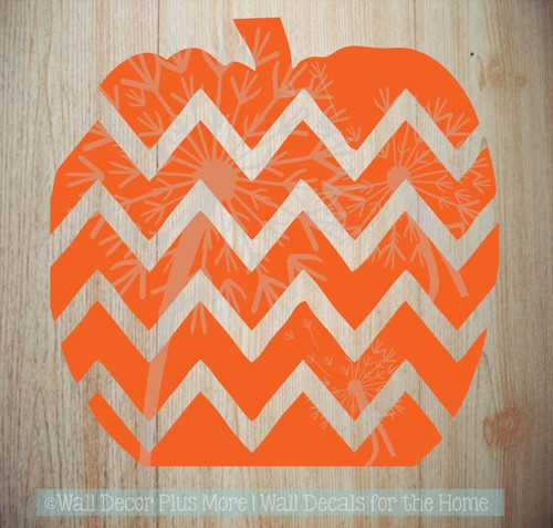 Chevron Pumpkin Wall Decals for Fall Decor Autumn Holiday Wall Stickers-Orange