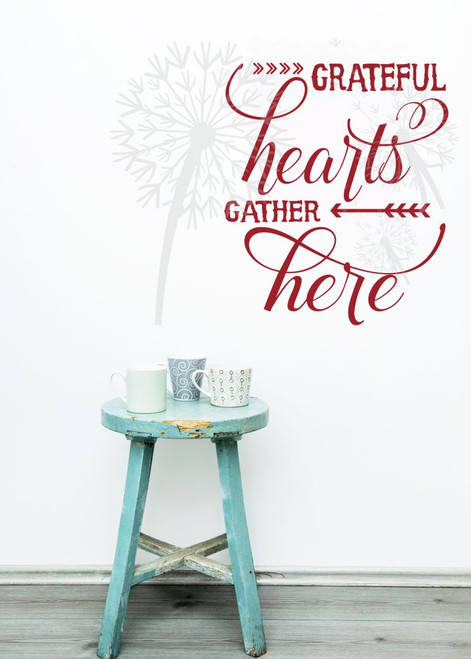 Grateful Hearts Gather Here Fall Wall Decals Quotes Vinyl Sticker for Home Decor-Red