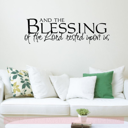 And the Blessing of the Lord.. Wall Decal Stickers Religious Quotes-Black