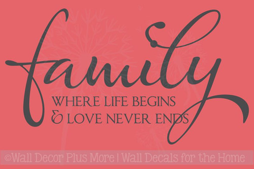 Family Where Life Begins Love Never Ends Wall Decals Quotes Vinyl Sticker