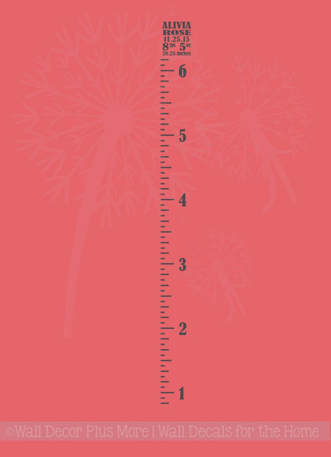 Vintage Oversized Growth Chart Ruler Vinyl Stickers Decal with Baby Statistics