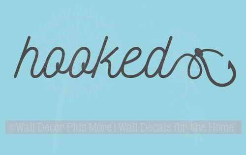 Hooked Cursive Lettering with Fish Hook Fisherman Wall Art Decals Words