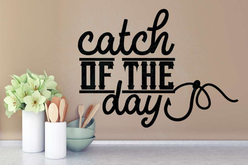 Catch of the Day Fisherman Fish Hook Wall Vinyl Decal Stickers-Black