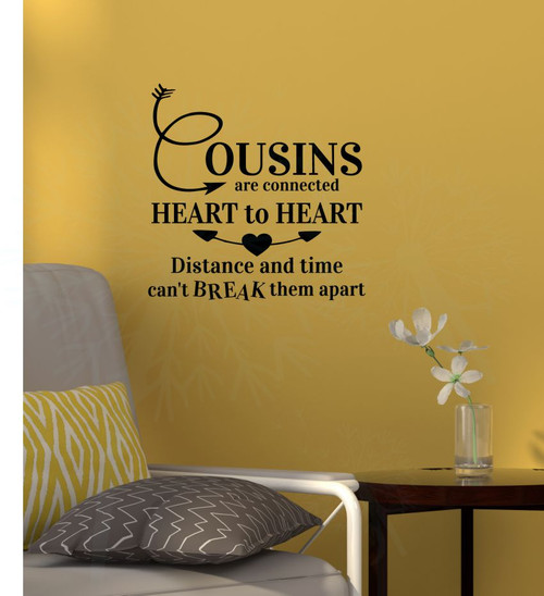Cousins Heart to Heart Wall Quote Vinyl Lettering Wall Sticker Decal-Black