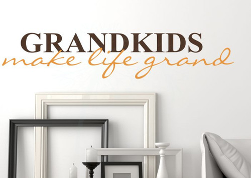 Grandkids Make Life Grand Wall Decals Sticker Vinyl Lettering, 2-color-Chocolate, Rust Orange