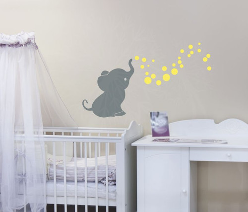 Elephant with Bubbling Dots Vinyl Wall Decals Stickers for Baby Nursery Wall Décor-Storm Gray, Yellow