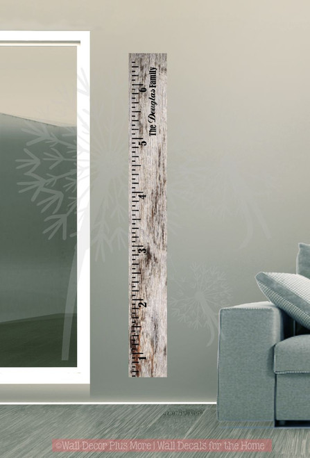 Vintage Oversized Growth Chart Ruler with Family Name Wall Vinyl Decals Stickers
