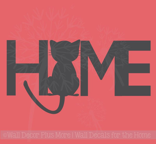 Home with Cat Silhouette Wall Decal Vinyl Stickers for Cat Lovers