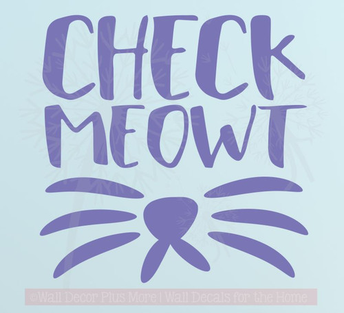 Check Meowt Wall Decal Sticker with Cat Whiskers Wall Art Pet Wall Decor Purple