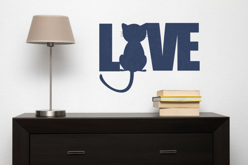 Love Wall Words with Cat Silhouette Wall Art Decal Stickers-Deep Blue